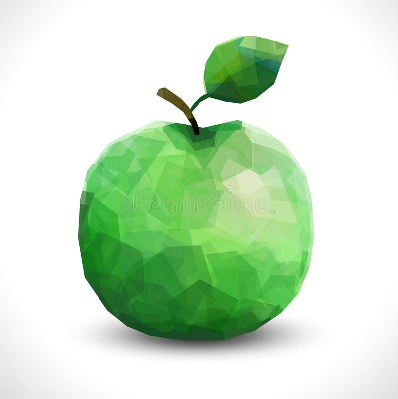 Apple poligonale insolito realistico Modello poligonale editabile della frutta di vettore moderno illustrazione di stock