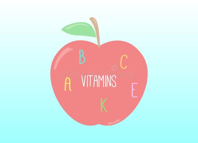Apple por completo de vitaminas ilustración del vector
