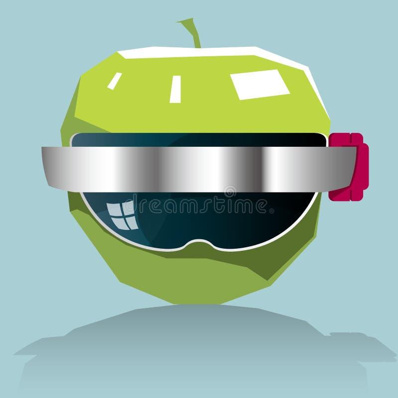 Apple portant les lunettes futées illustration stock