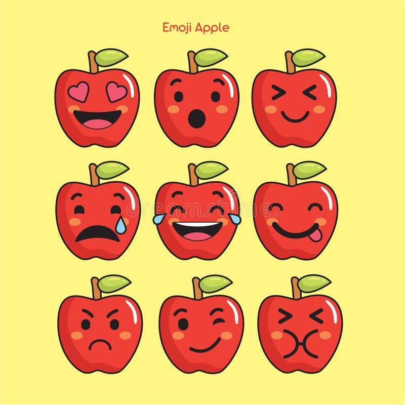 Apple portent des fruits emoji, icônes de sourire de pomme réglées illustration libre de droits