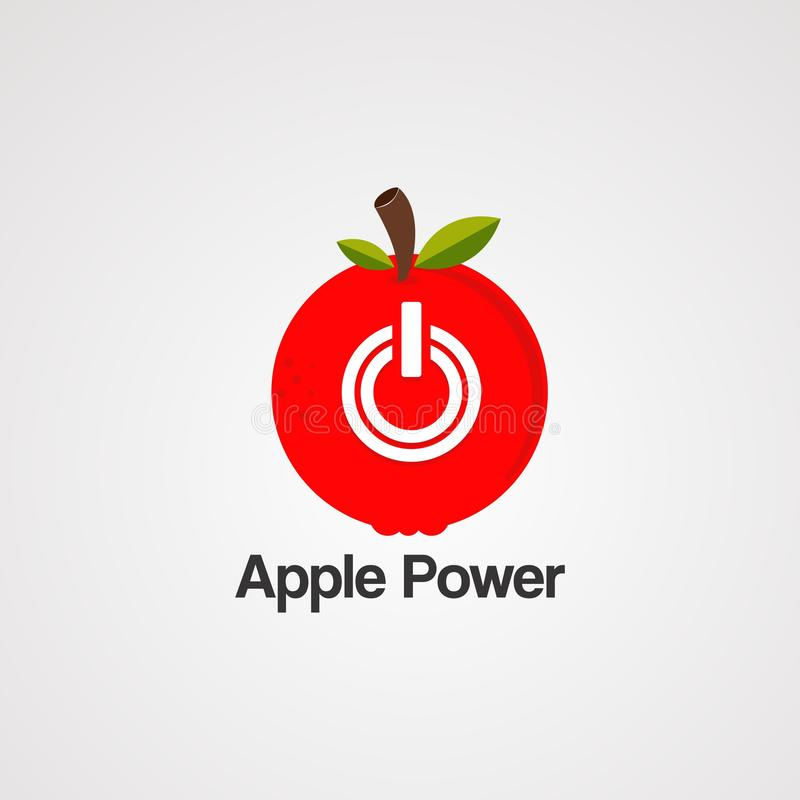 Apple power circle red logo vector, icon, element, and template for company royalty free illustration
