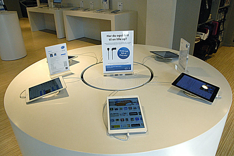 APPLE PRODUCTS. COPENHAGEN /DENMARK- Apple products ipad air ipad mac apple computer display at shop 28 March2014 (Photo by Francis Dean/Deanpictures stock photo