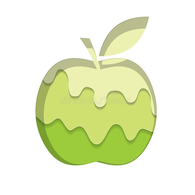 Apple profila il modello Fondo scorrente dell'inceppamento di verde di calce Melted strati tagliati carta 3d illustrazione vettoriale