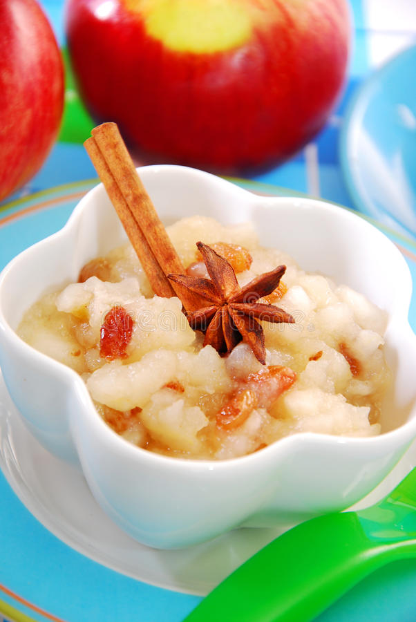 Download Apple Puree With Raisins For Baby Stock Photo - Image: 27402162