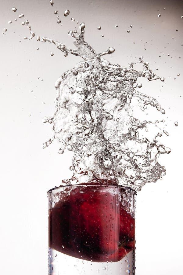 Apple que espirra no vidro da água imagem de stock