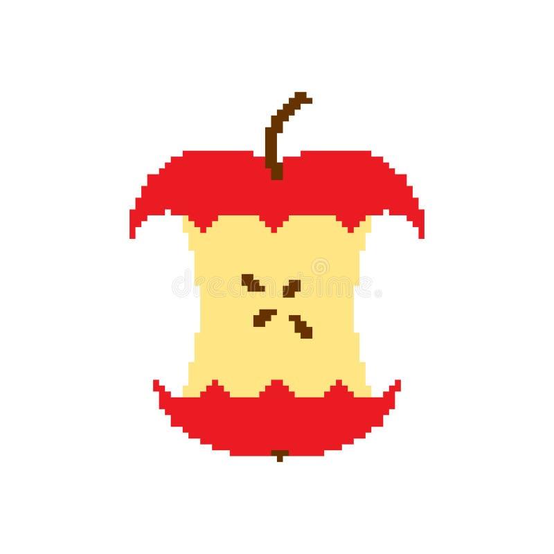 Apple quita el corazón a arte del pixel aislado en el fondo blanco stock de ilustración