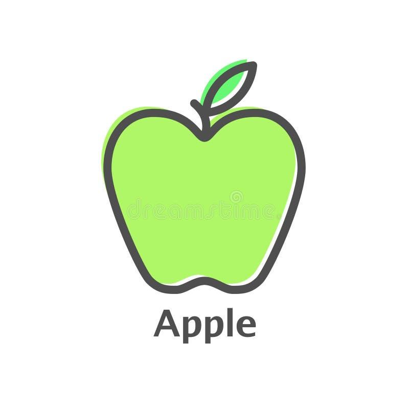 Apple rayent l'icône, signe de vecteur d'ensemble, pictogramme linéaire de style d'isolement sur le blanc Symbole, illustration d illustration libre de droits