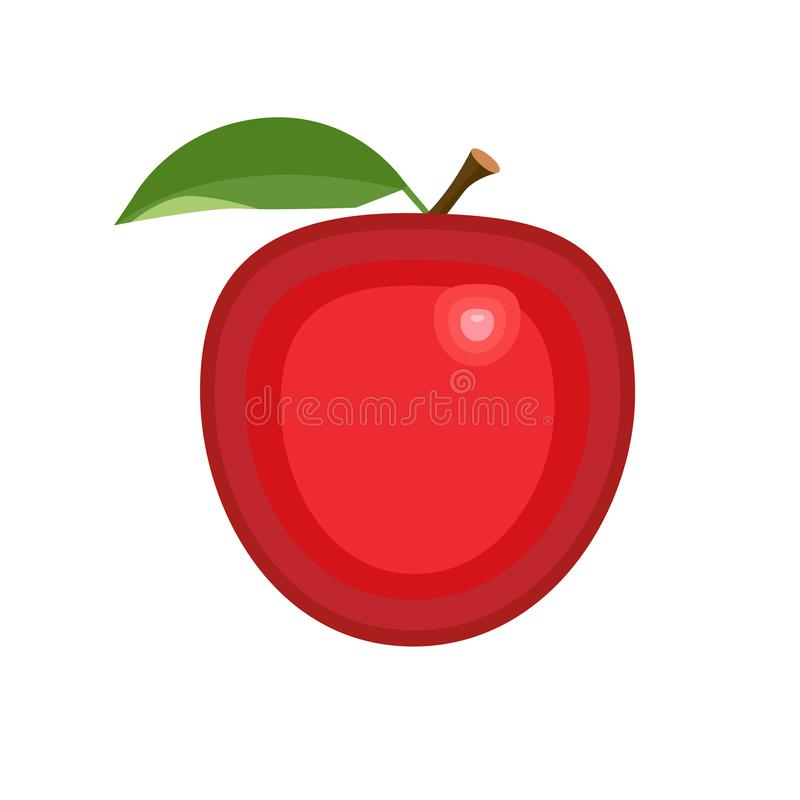 Apple red fruit with green leave, icon on isolated background concept for farmers market organic food in flat style vector illustr. Apple red fruit with green stock illustration