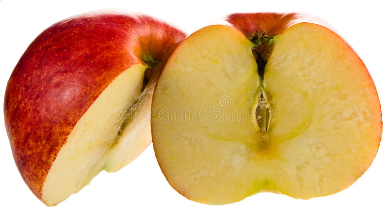 Apple red slices side. Isolated white apple food studio red slices royalty free stock images