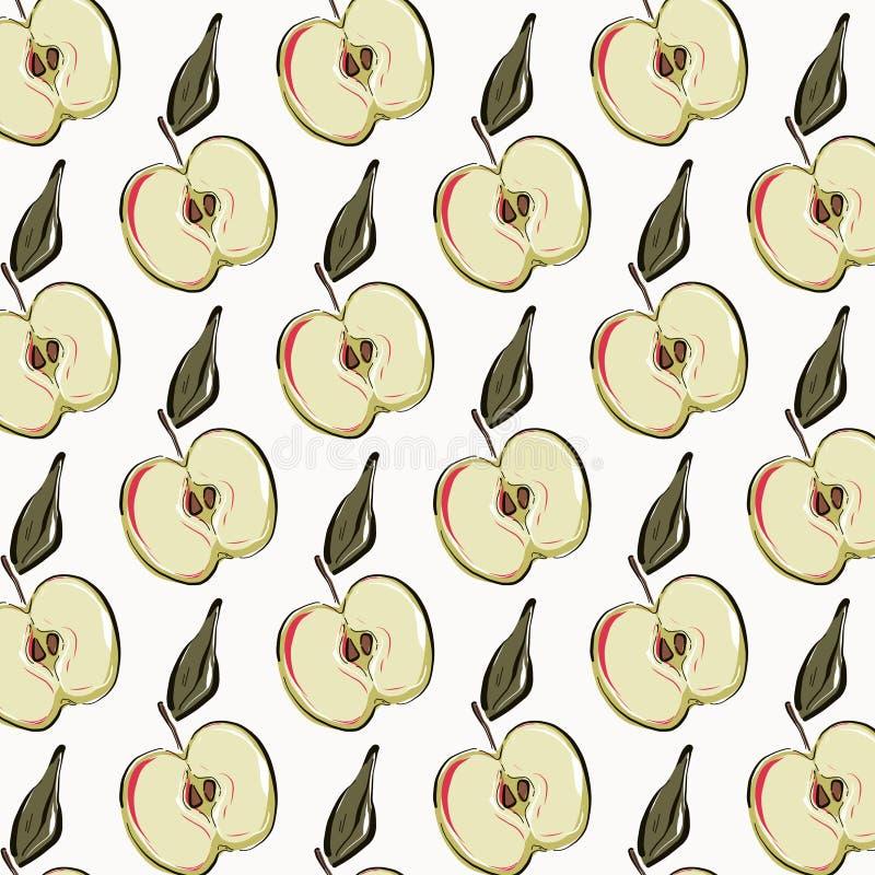 Apple repetition  pattern. Fruit vegetarian organic texture. Sweet healthy design. Vector art royalty free illustration