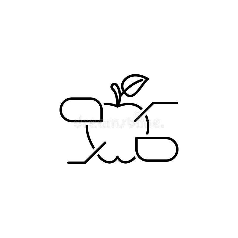 Apple resume el icono Elementos del icono del ejemplo de la dieta y de la nutrición Muestras e icono para los sitios web, dise?o  ilustración del vector