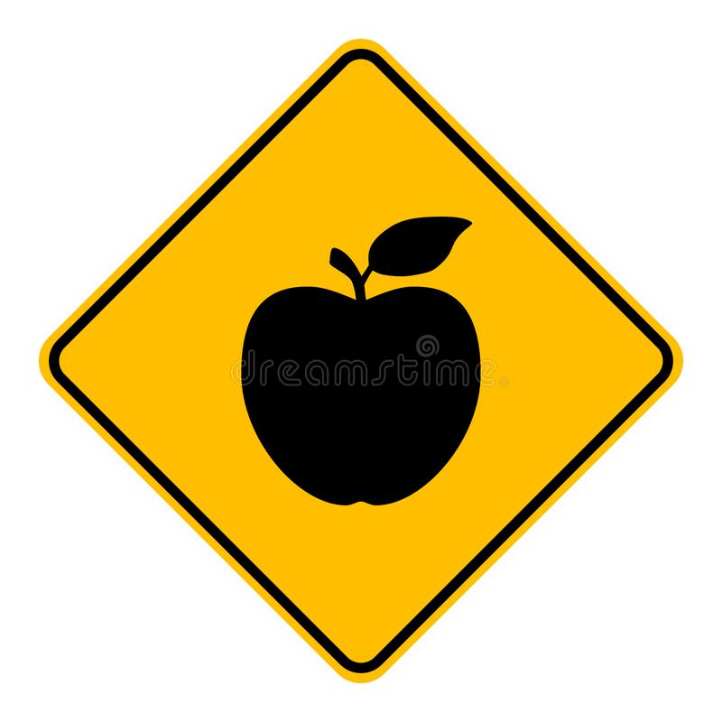Apple and road sign stock illustration