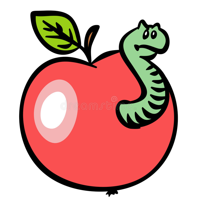 Apple rojo con un gusano. JPG y EPS ilustración del vector