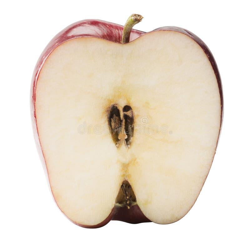 Apple rojo cortado por la mitad fotos de archivo