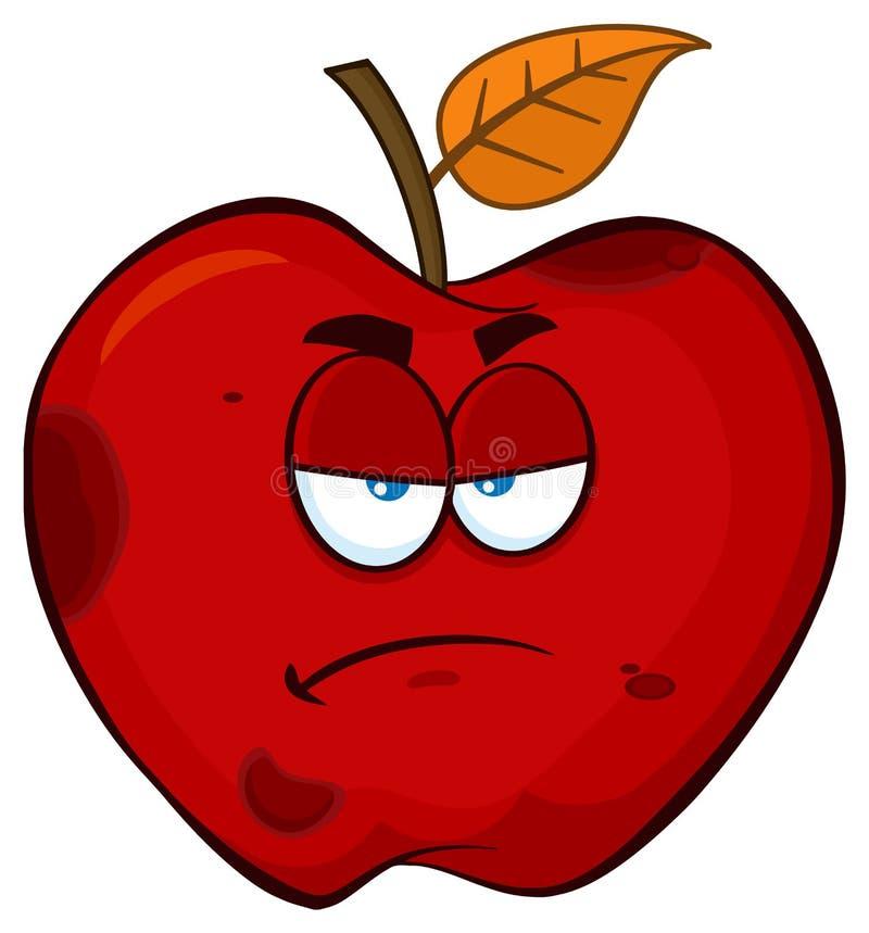 Apple rosso marcio scontroso fruttifica carattere della mascotte del fumetto illustrazione vettoriale