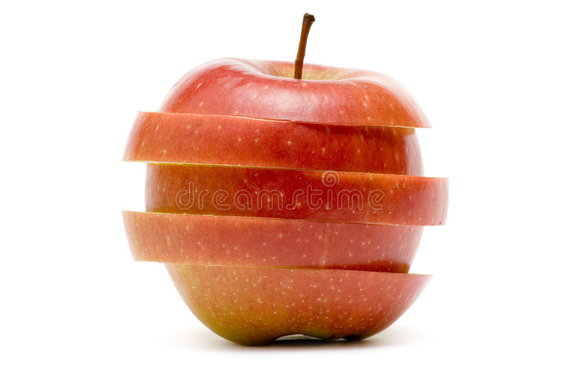 Apple rouge découpé en tranches photos libres de droits