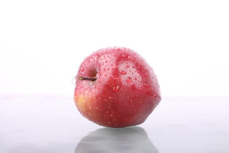 Apple rouge sur la glace humide photographie stock libre de droits
