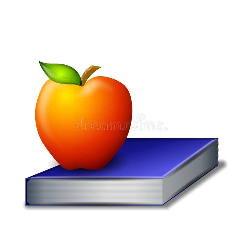 Apple rouge sur le livre bleu illustration stock