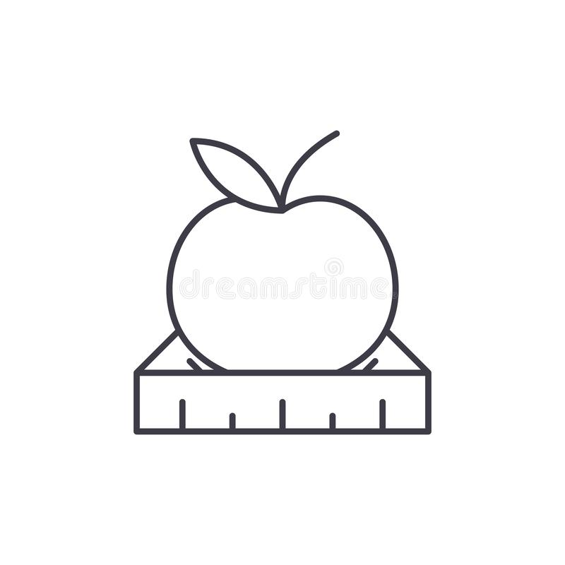 Apple with a ruler line icon concept. Apple with a ruler vector linear illustration, symbol, sign royalty free illustration