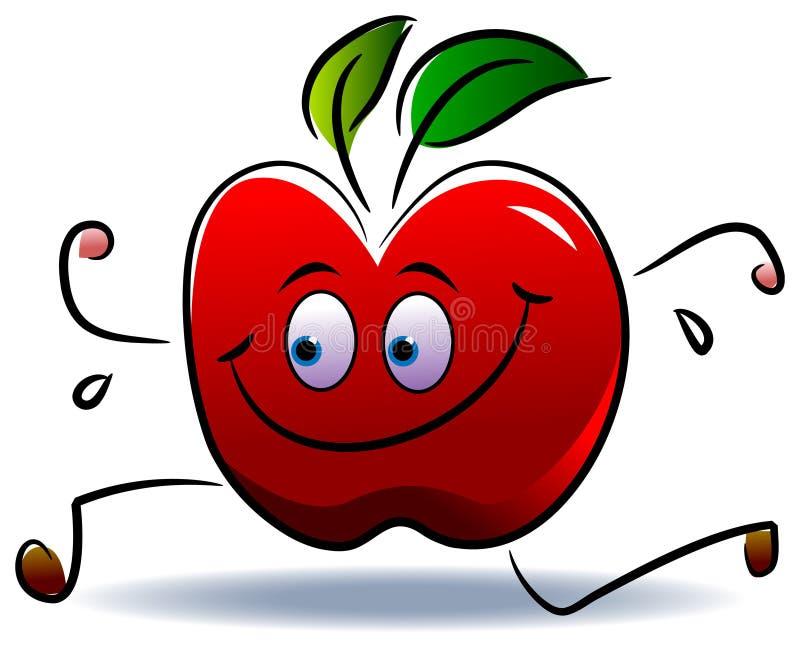 Apple run. Illustrated isolated cartoon image of apple run stock illustration