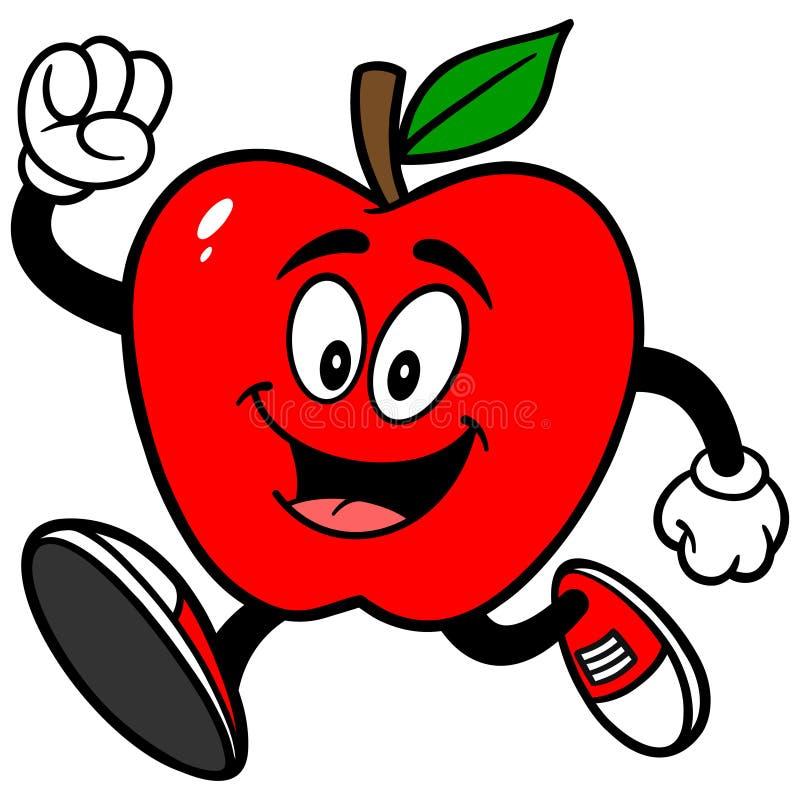 Apple Running. Cartoon illustration of an Apple Running stock illustration