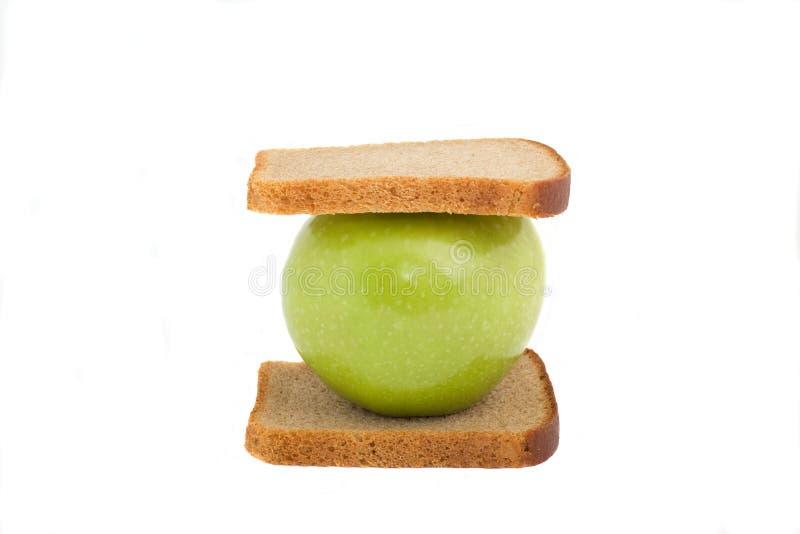 Apple-Sandwich, getrennt stockfoto