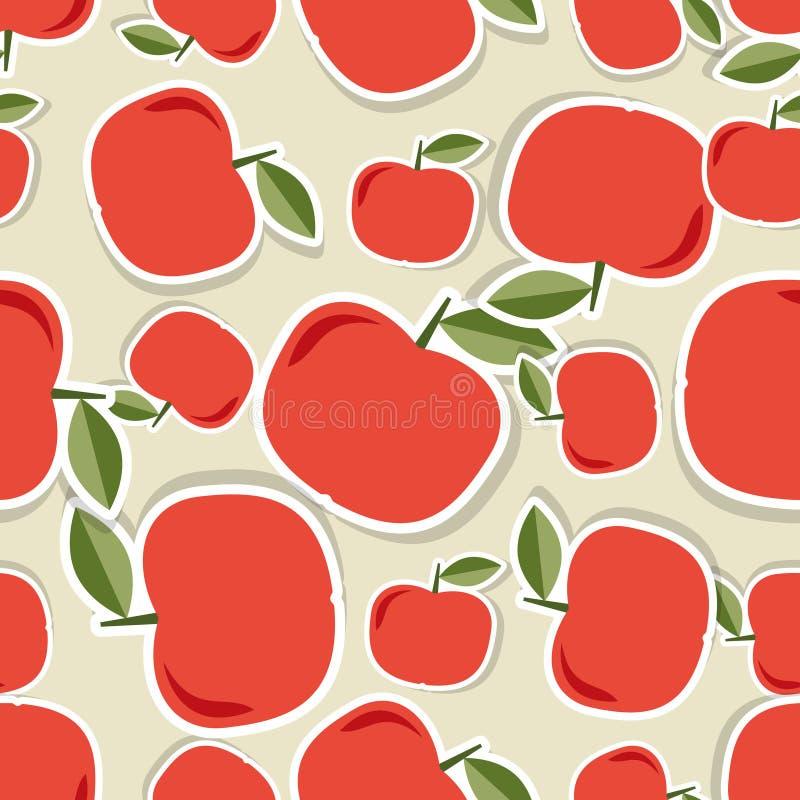 Apple sans joint Texture sans couture avec les pommes rouges mûres illustration de vecteur