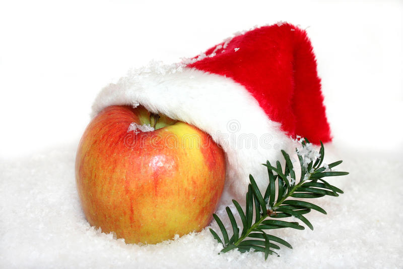 Apple with Santa Hat stock photos