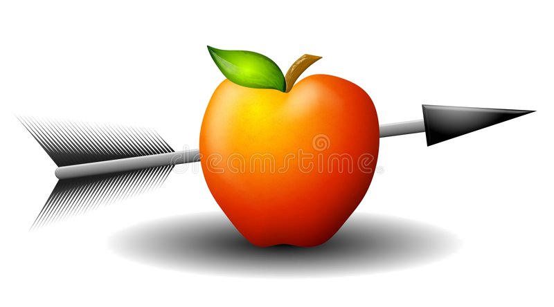 Apple Shot With Arrow. An illustration featuring a red apple with an arrow shot through it stock illustration