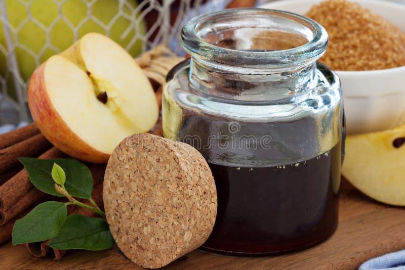 Apple sirap med kanel och kryddor royaltyfri fotografi