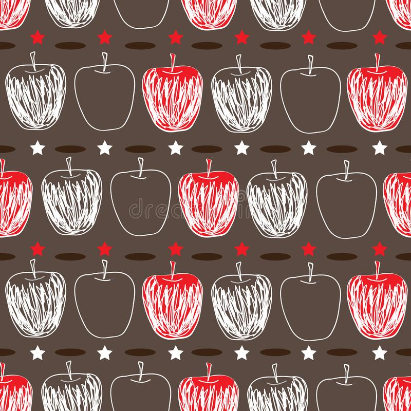 Apple Sketch-Fruit Delight seamless Repeat Pattern illustration.Background in Red Brown and White stock illustration