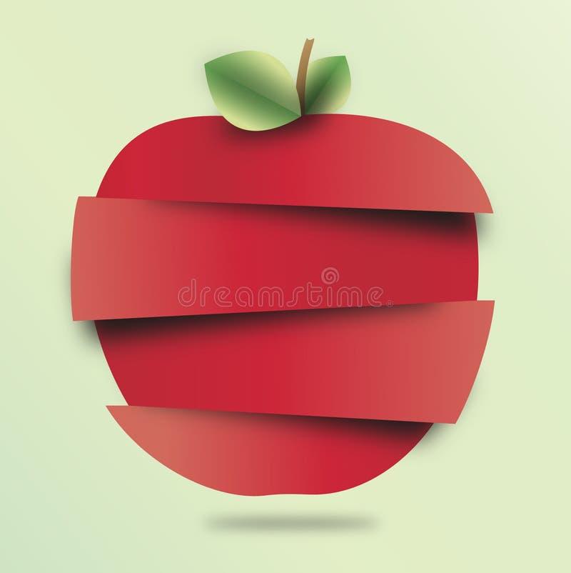 Apple skivade papper royaltyfri illustrationer