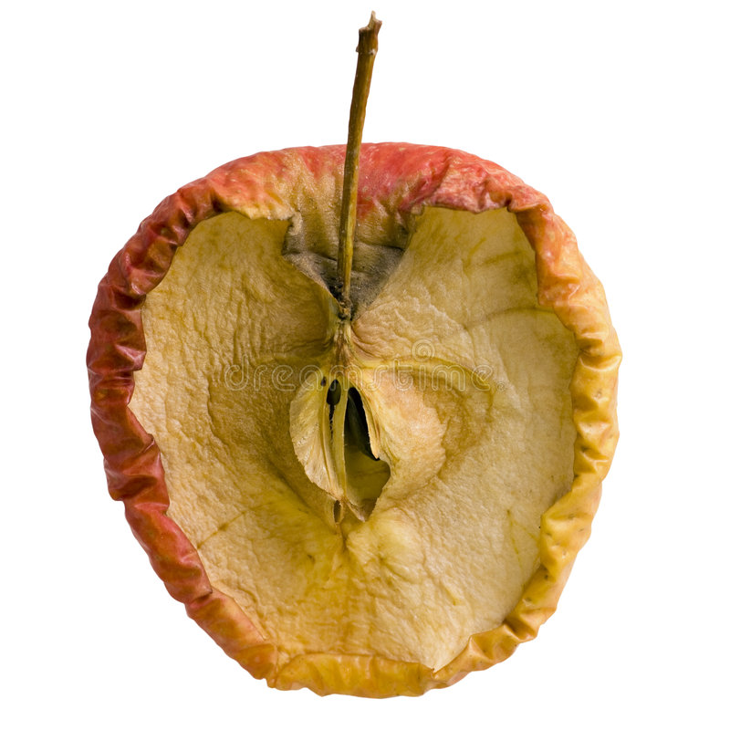 Apple Slice In Decay - Isolated Royalty Free Stock Photo