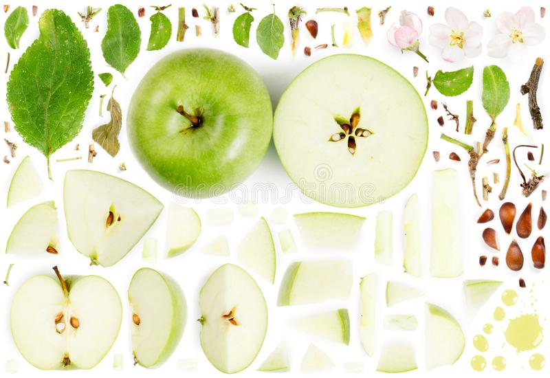 Apple Slice and Leaf Collection. Large collection of apple fruit pieces, slices and leaves isolated on white background. Top view. Seamless abstract pattern royalty free stock photos