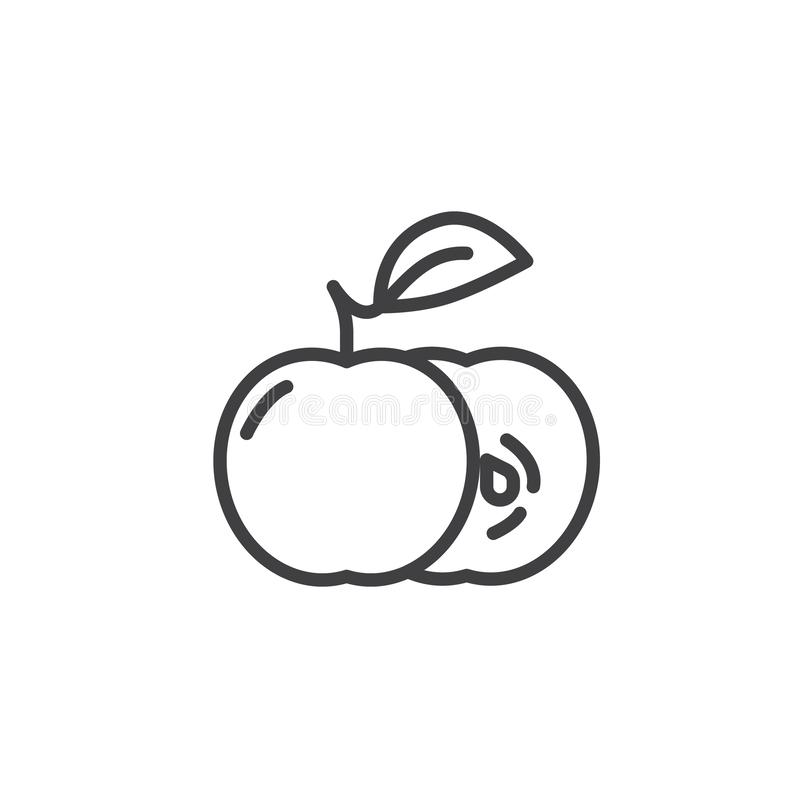 Apple slice and whole line icon. Linear style sign for mobile concept and web design. Apples with leaf outline vector icon. Symbol, logo illustration. Vector vector illustration