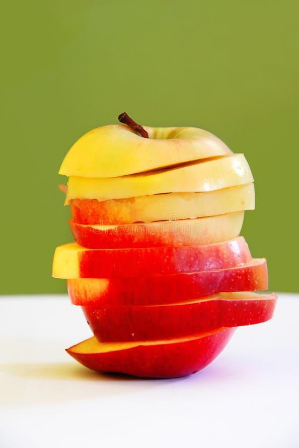 Apple slices in apple shape stock photos