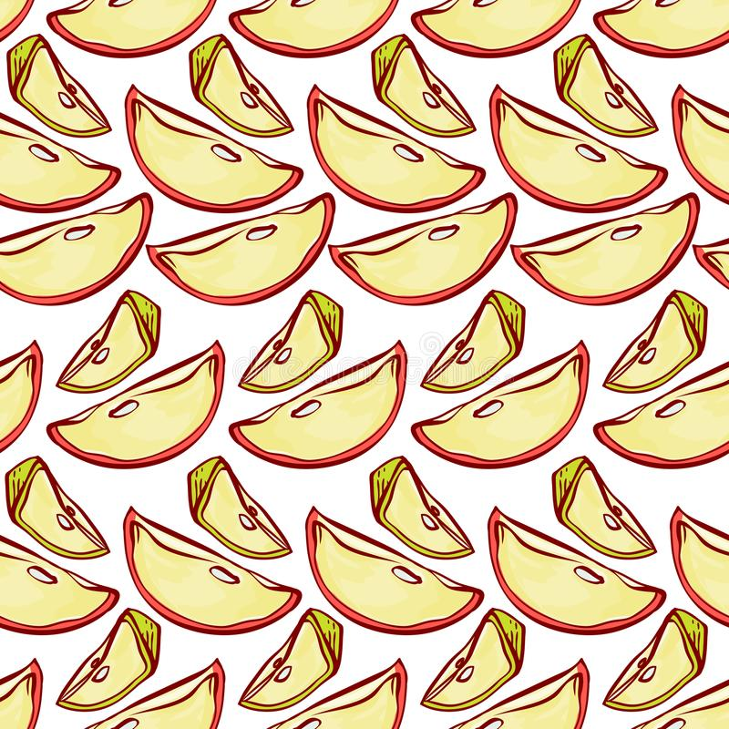 Apple slices seamless pattern. Vector background malic cut fruits with for design label juice, jam or tea packaging or stock illustration