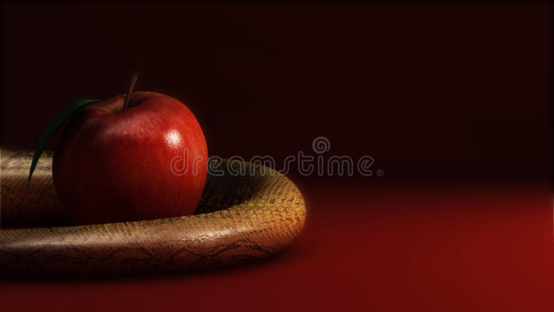 Apple and snake. Graph made in 3d stock illustration