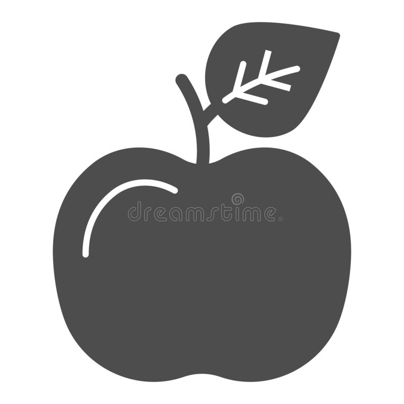 Apple solid icon. Fruit vector illustration isolated on white. Food glyph style design, designed for web and app. Eps 10 royalty free illustration