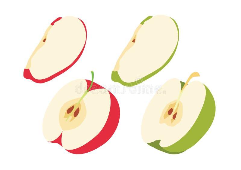 Apple som är röd i den halva bollen som isoleras på den vita bakgrundsillustrationvektorn royaltyfri illustrationer
