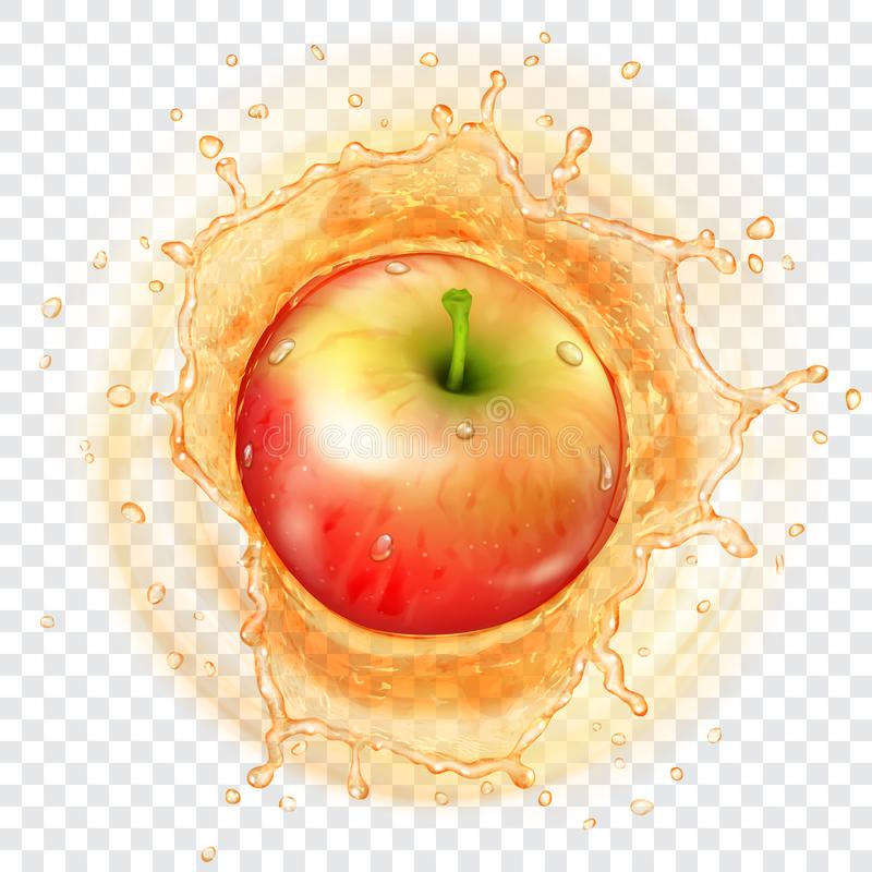 Apple som faller in i en fruktsaft vektor illustrationer