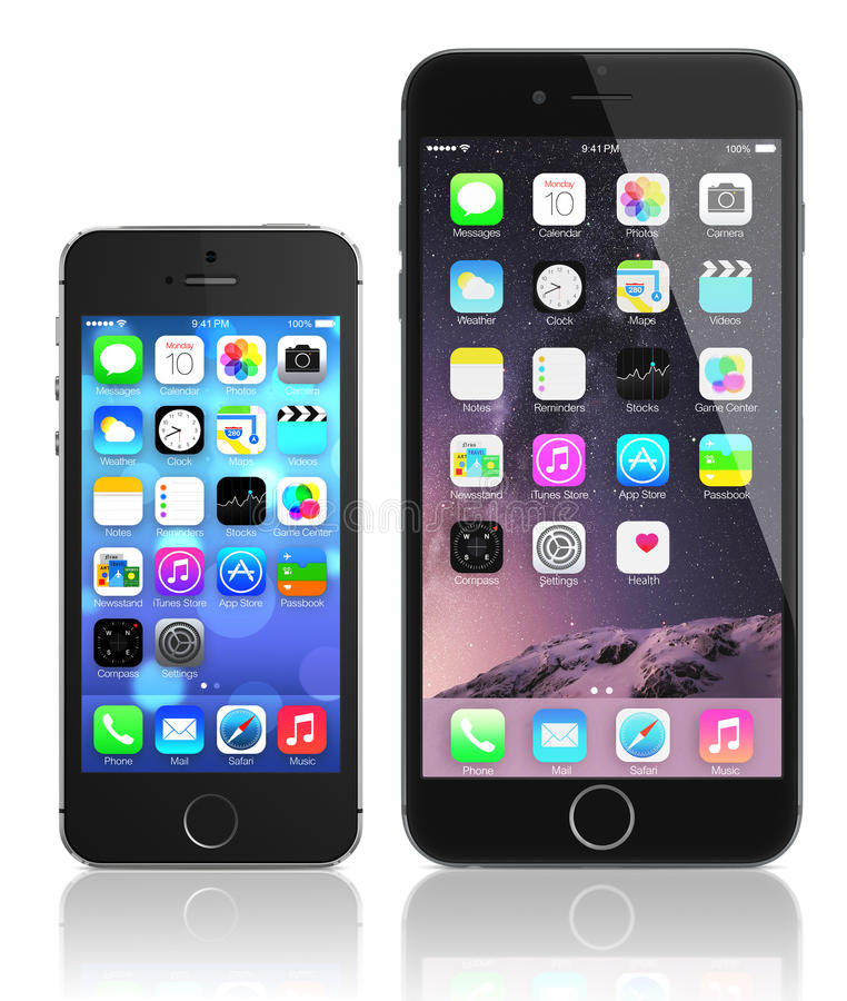 Free Apple Space Gray IPhone 6 Plus And IPhone 5s Stock Image - 45659271