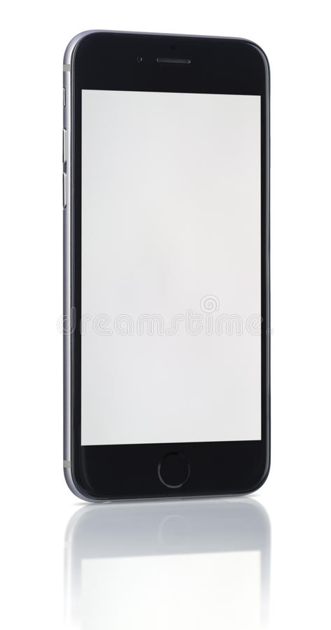 Apple Space Gray iPhone 6 with blank screen. Apple Space Gray iPhone 6 showing blank screen.The new iPhone with higher-resolution 4.7 screens, improved cameras stock photography