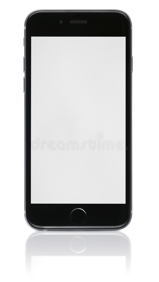 Apple Space Gray iPhone 6 with blank screen. Apple Space Gray iPhone 6 showing blank screen.The new iPhone with higher-resolution 4.7 screens, improved cameras royalty free stock images
