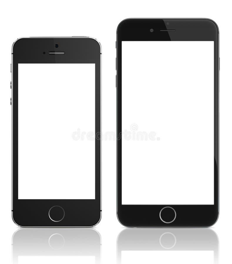 Apple spazia il iPhone grigio 6 e il iPhone 5s fotografia stock libera da diritti