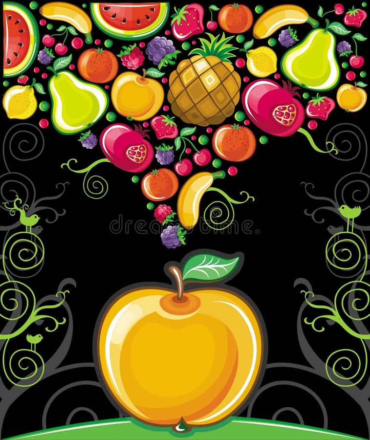 Apple splash ( fruit series). Different types of delicious fruits combined in a shape of fruit splash and big apple. On black background vector illustration