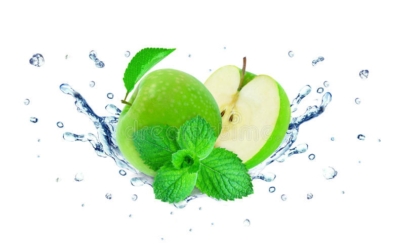 Apple splash and mint royalty free stock photography
