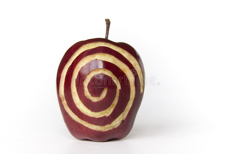 Apple With Sprial royalty free stock photos
