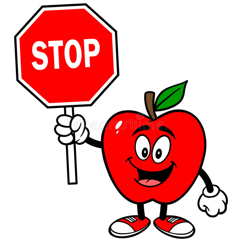 Apple with Stop Sign stock illustration