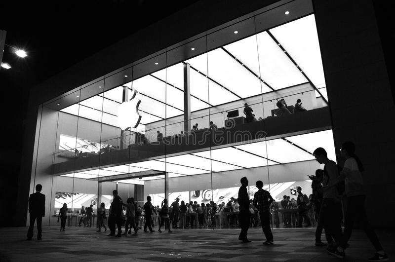 Apple Store on Chunxi Road. Apple store seen from the outside on Chunxi Road, downtown Chengdu stock photo